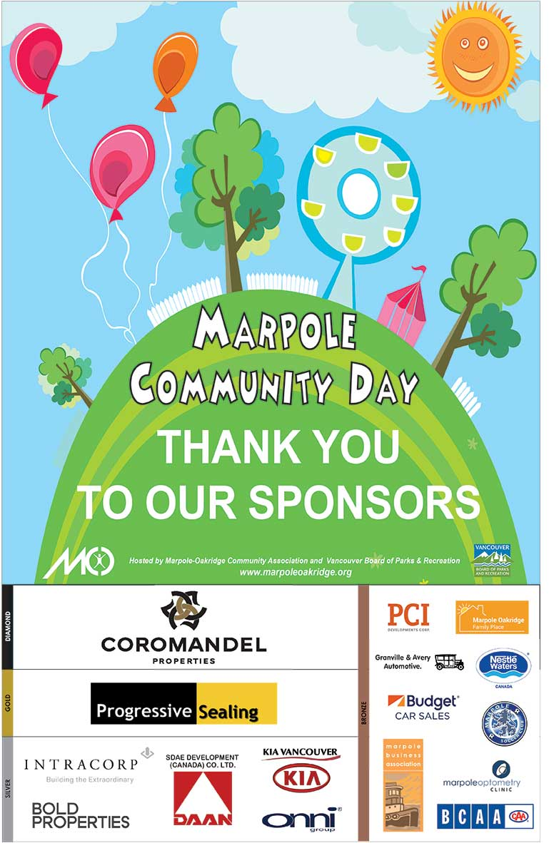 Marpole Community Day Free Rides & Games Stage Performances Entertainment Food Concession 50/50 Draw Community Tables Spray Park Saturday June 3, 11:00am-3:00pm